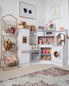 UPDATE: Here is a link to the exact white corner kitchen, scoop one up before they sell out again! For Christmas we surprised the girl. UPDATE: Here is a link to the exact white corner kitchen, scoop one up before th. Playroom Design, Playroom Decor, Decor Room, Bedroom Decor, Playroom Ideas, Modern Playroom, Kid Decor, Basement Daycare Ideas, Pottery Barn Playroom