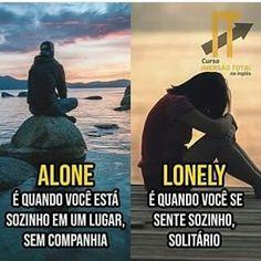 Alone x lonely English Help, English Time, English Course, Learn English Words, English Study, English Class, English Lessons, English Vocabulary Words, English Grammar