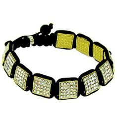 Shamballa Square Macrame Buddhist Bracelet Black & Gold Iced Out Swarvoski Bling The Bling King. $16.85