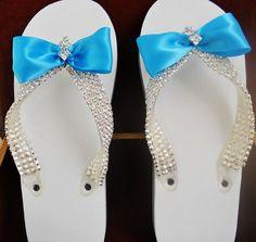Malibue Blue Wedding Flip Flops Rhinestone by LostPemberlyDesigns, $30.00 #KISSBride