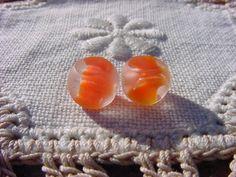 Petite Tangelo Windows Vintage Glass Beads by vintagebeadnut, $3.50