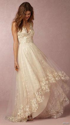 BHLDN #bridal spring 2016 sleeveless v neck lace strap embellished bodice illusion back lace hem romantic pretty a line #wedding dress marchesa (opal)