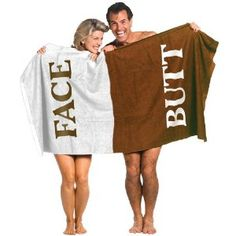 NEW Butt and Face Embroidered Lettering Color Coded Comedic Body Towel