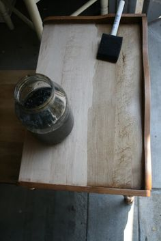vinegar and steel wool stain for gray weathered look. Love this! Painted white over it and sanded to give shabby Chic look. In love!