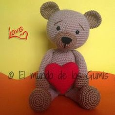 Valentine Bear (Spanish crochet pattern) (Free Amigurumi Patterns)