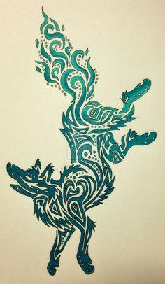 Tribal Husky Tattoo   Tribal Fire Wolf by TheRebornWolf