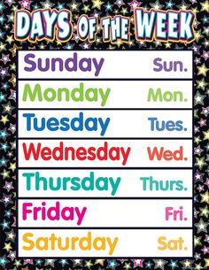 - Fancy Stars Days of the Week Chart, Convenient, useful learning tools that decorate as they educate! Each chart measures by Related lesson. Stars Classroom, Classroom Rules Poster, Classroom Themes, Mini Office, Teacher Created Resources, English Class, Preschool Worksheets, Learning Tools, Teaching Materials