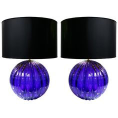 Pair of Vintage Cobalt Blue Murano Glass Lamps | From a unique collection of antique and modern table lamps at https://www.1stdibs.com/furniture/lighting/table-lamps/