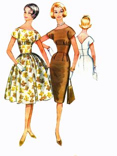McCalls 5668 1960s Slim or Full Skirt Dress Sewing by retromonkeys, $19.00