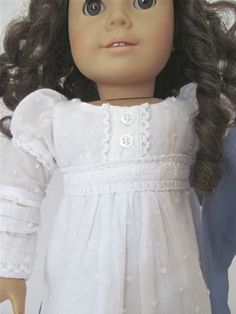 1812 Regency Dress,  Wrap,  American Girl Doll Clothes.  via Etsy.