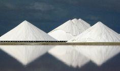 Mountains of salt on the Caribbean Island of Bonaire. Photograph: David J Phillip/AP