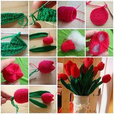 How to Crochet Beautiful Tulip Flower #Crcohet #Tulip #Flower