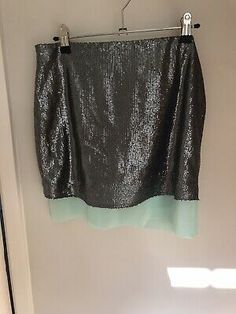 Massimo dutti Ladies Sequin/ Chiffon Skirt Size S. Mint green sheer underlay skirt with split each side, zip lhs, pewter sequin overskirt all intact Floral Chiffon, Chiffon Skirt, Midi Skirt, Lady Grey, Lace Design, Short Skirts, Silk Dress, White Lace, Sequins