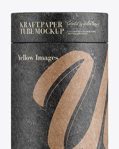 Big Kraft Paper Tube Mockup – Front View. Preview (Close-Up)
