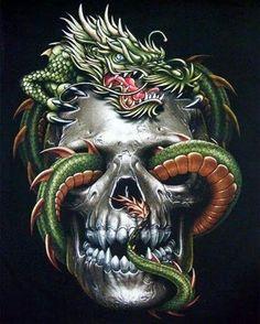 Tattoo Biker Rock Mens T-shirts, Vampire Gothic Horror Skull Asian Chinese Dragon T-shirt