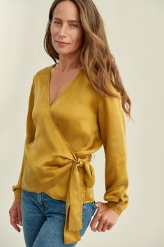 Mirasol Wrap Top (Gold) – Long Sleeve – Amour Vert Burgundy Dress, Sustainable Fashion, Wrap Dress, Clothes For Women, Long Sleeve, How To Wear, Tops, Spring Style, Wrap Style