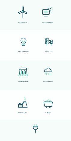 Renewable energy icons behance