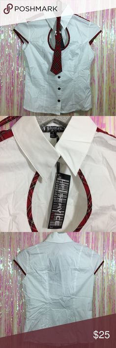 Lip Service Button Up Collar Top Plaid Tie New with tag. Tiny spot on back. Includes matching plaid tie.  *I'm not responsible for the fit of an item*  🚫 I don't discuss prices through comments, please use the offer button!  ⚡️ Same-day or next-day shipping 📬 All packages handled with care 📦 Bundle 2+ items for a discount 👽 Follow for new items & sale updates 🏡 Pet-free & smoke-free home 💖 Please, read shop policies! :) Lip Service Tops