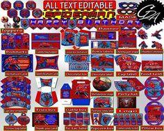 Spiderman Birthday Party Decoration Editable
