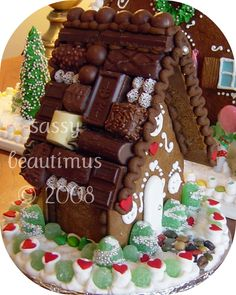 Gingerbread house with chocolate candy roof.