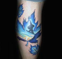 Jungs Forearms Bläuliche Blätter und Snowboard Tattoo