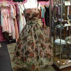 "Stunning 50s nylon chiffon dress in striking brown roses. Size 8 approx  Bust 34"" Waist 26"" $240"