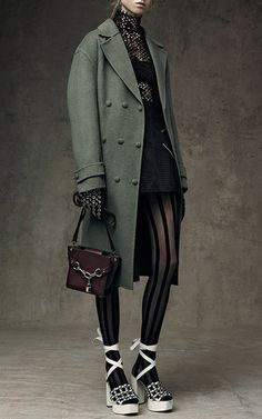 Alexander Wang Triple Snap Oversized Wool Coat $1,295, Double Crepe X Mini Skirt $595,
