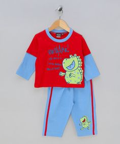 Take a look at this Blue & Red Monster PJs by Jam Jam on #zulily today!