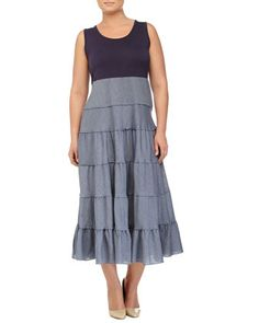 Chambray Tiered Maxi Dress, Coastal Blue/Navy, Women\'s by Neiman Marcus at Neiman Marcus Last Call.