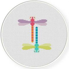 Dragonflies Cross Stitch Pattern