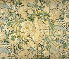 Peonies, Alphonse Mucha art
