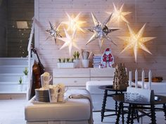 IKEA Strala star pendant lamps. They come in multiple sizes and colors. $7-$15 Great for Hanukkah decorating!