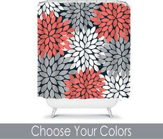 Coral Gray Black SHOWER CURTAIN Flowers Custom MONOGRAM - Red and black bath mat for bathroom decorating ideas