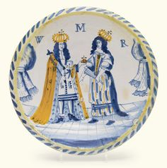plates and dishes Old Pottery, Glazes For Pottery, Ceramic Pottery, Ceramic Art, King William, William And Mary, Delft, Queen Mary Ii, Defender Of The Faith