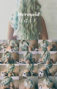 No Heat Mermaid Hair - my hair kindof does this naturally,,  but this is a good way to help it out esp. overnight                                                                                                                                                      More