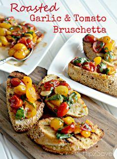 Roasted Tomato & Garlic Bruschetta by Hip2Save.com