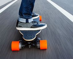 The Boosted Board weighs only 15 pounds. It's powered by 2000-watts, the equivalent of 2.6 horsepower traveling its nearly 6-mile range at speeds up to 20MPH.