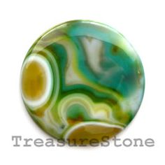 Cabochon, agate (dyed), 53mm round.