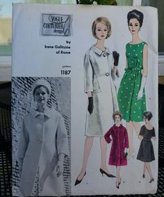 RARE 1960's Vintage VOGUE COUTURIER Pattern 1187 Irene Galitzine Dress &…