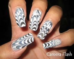 My Simple Little Pleasures: NOTD: Halloween Spider Web Water Marble See the tutorial: http://youtu.be/NRTS6A7VTps