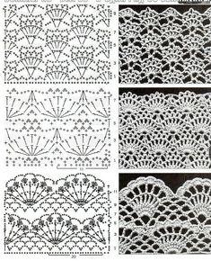 Captivating Crochet a Bodycon Dress Top Ideas. Dazzling Crochet a Bodycon Dress Top Ideas. Crochet Edging Patterns, Crochet Motifs, Crochet Borders, Crochet Diagram, Crochet Chart, Crochet Lace, Knitting Patterns, Crochet Blouse, Filet Crochet