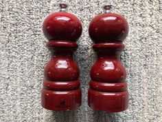 Peugeot Paris 5 inch Red Lacquer Salt & Pepper Mill Set used #Peugeot