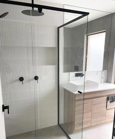 Love the use of Nordic White in this bathroom, perfectly compliments the black fixtures 🖤 thanks for sharing @xclusivebathrooms @jmtilingandwaterproofing 👌🏼 Grey Modern Bathrooms, Compliments, Tiles, Divider, Furniture, Black, Home Decor, Room Tiles, Decoration Home