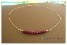 ruby bar  gorgeous genuine ruby necklace  simple by greenteajewels, $24.00