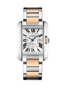 Cartier Tank Anglaise Automatic Medium 18K Pink Gold & Stainless Steel Bracelet Watch