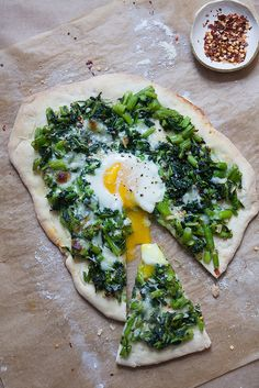 Broccoli rabe & egg pizza