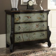 Painted dresser with stencilled vine/birds..another reason to learn how to stencil!