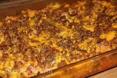 Shipwreck Casserole - A layered casserole, made with ground beef, onions,  potatoes, and veggies - here I used carrots, bell pepper and celery - and added a layer of rice.  Can be adapted to cook in crock pot!!