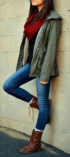 #Winter #Outfits / Military Jacket + Red Scarf