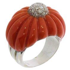 1970s Mediterranean Coral Diamond Gold Dome Ring